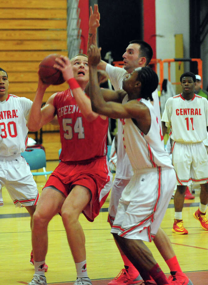 Boys basketball action between Greenwich and Central in Bridgeport, Conn. on Tuesday February 11, 2014. Photo: Christian Abraham / Connecticut Post