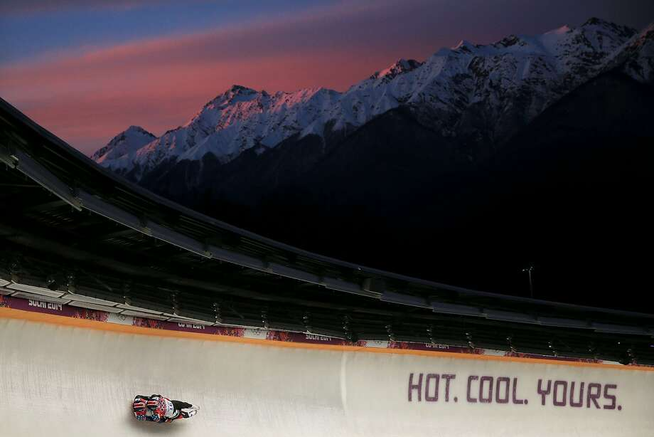 Matthew Mortensen and Preston Griffall of the United States make a run during the Men's Luge Doubles on Day 5 of the Sochi 2014 Winter Olympics at Sliding Center Sanki on February 12, 2014 in Sochi, Russia. Photo: Richard Heathcote, Getty Images