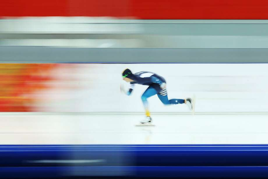 Daniel Greig of Australia competes during the Men's 1000m Speed Skating event during day 5 of the Sochi 2014 Winter Olympics at at Adler Arena Skating Center on February 12, 2014 in Sochi, Russia. Photo: Quinn Rooney, Getty Images
