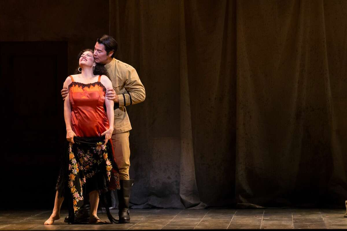 Adam Diegel stars as Don Jose and Kirstin Chavez as Carmen in a production of Bizet's Carmen by Opera San Antonio in 2016.