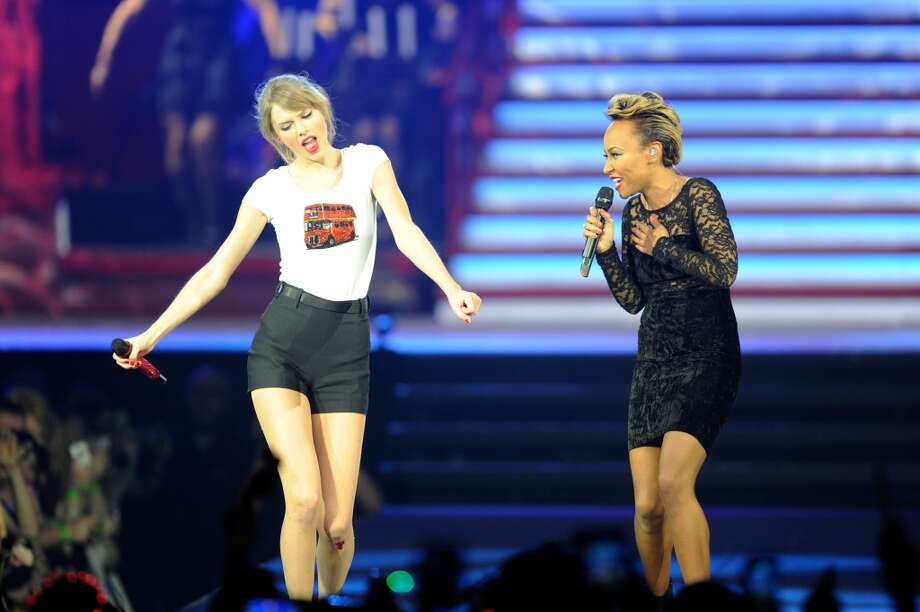 Taylor Swift was joined on stage by Emeli Sande on the fifth night of the European leg of her blockbuster The RED Tour with the fourth of five sold-out shows at London's O2 Arena, playing to a capacity crowd of more than 15500 fans. (Photo by Dave J Hogan/Getty Images for TAS) Photo: Dave J Hogan, Getty Images For TAS