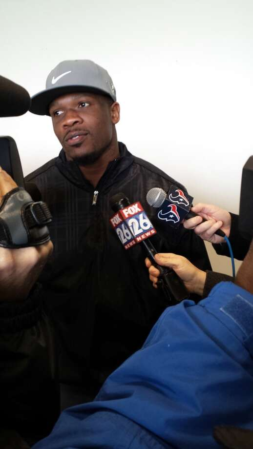 Texans wide receiver Andre Johnson speaks with the media Wednesday at the Golf Club of Houston. Photo: Brian T. Smith, Houston Chronicle