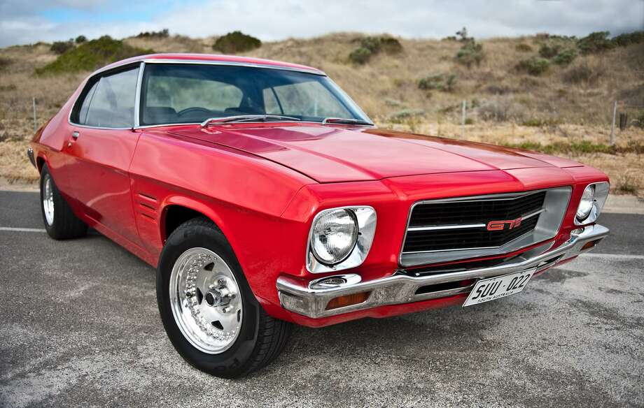 While this car may look like a classic American muscle car, it's a  1971 Holden HQ Monaro Coupe in Adelaide, Australia.