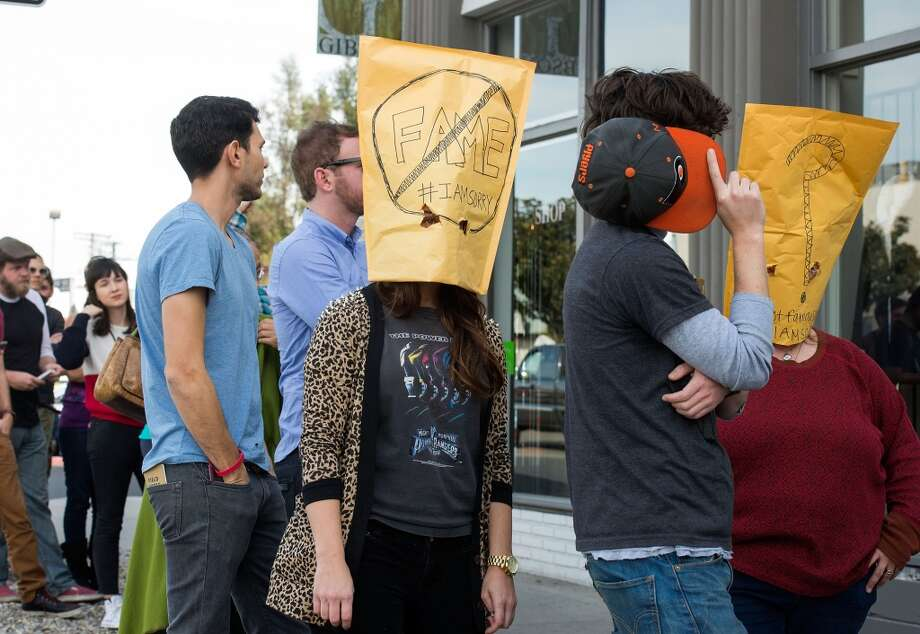 "People line up in front of the Cohen Gallery during Shia LaBeouf ""IAmSorry"" Art Installation on February 11, 2014 in Los Angeles, California.  (Photo by Valerie Macon/Getty Images) Photo: Valerie Macon, Getty Images"