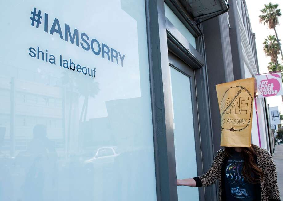 "Shia LaBeouf's ""IAmSorry"" Art Installation at Cohen Gallery on February 11, 2014 in Los Angeles, California.  (Photo by Valerie Macon/Getty Images) Photo: Valerie Macon, Getty Images"