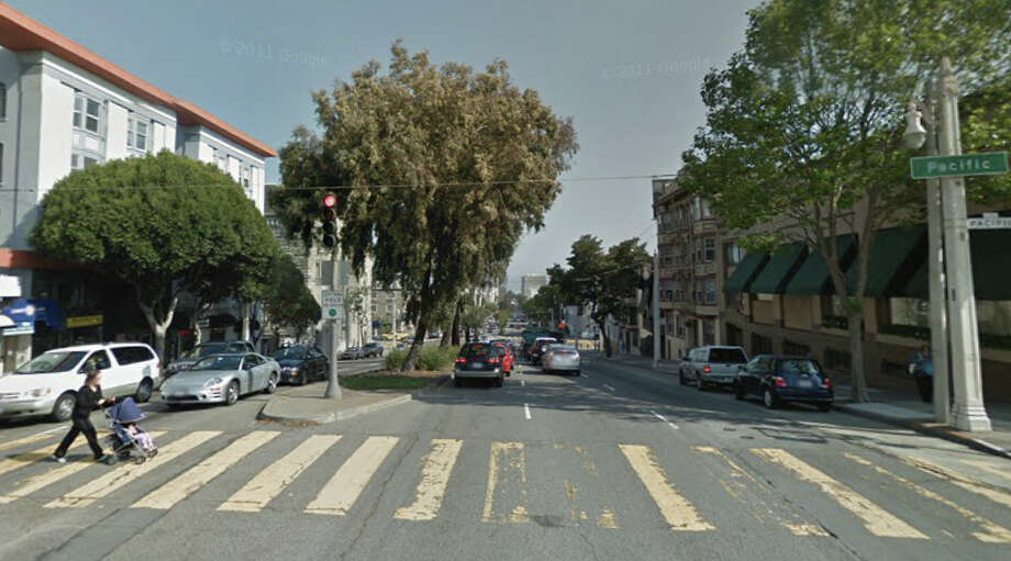 A view of the intersection of Van Ness and Pacific in San Francisco. A driver was arrested early Wednesday for fleeing the scene of a crash that killed a pedestrian at the intersection. Photo: Google Maps