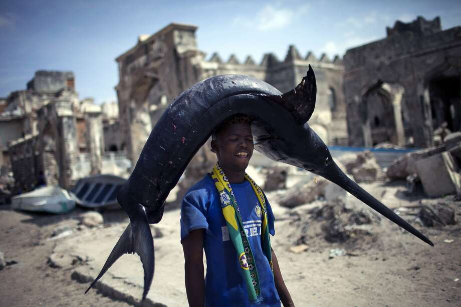 The sharpest hat in town: A Somali fisherman carries his swordfish catch from the port to the market in Mogadishu. Photo: JM Lopez, AFP/Getty Images