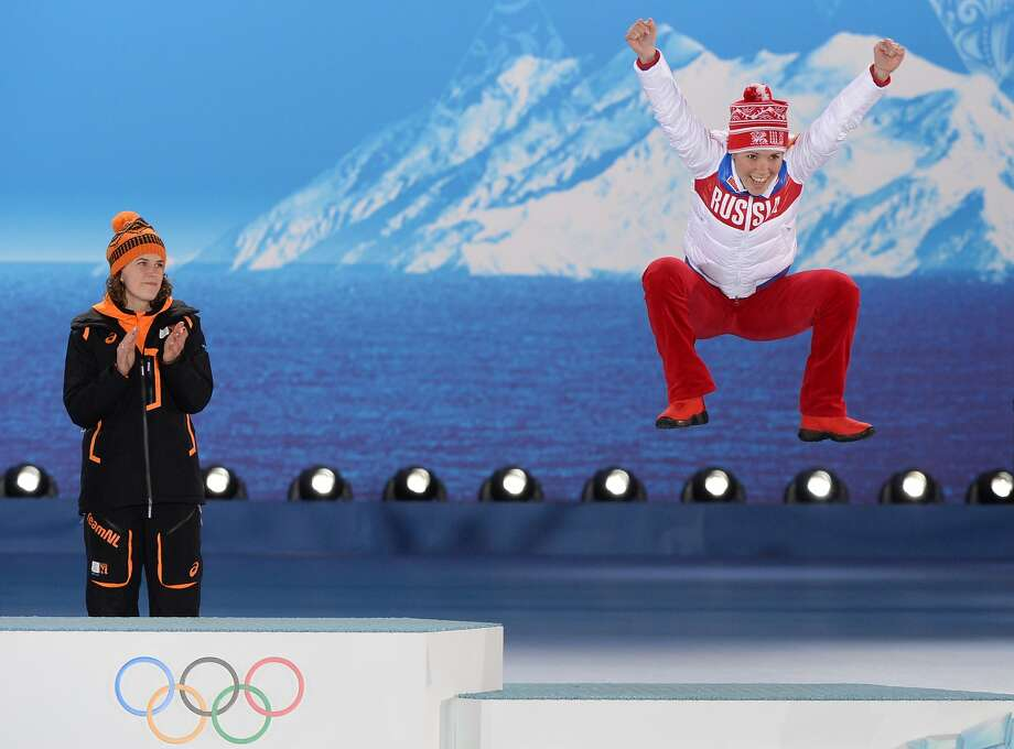 I'm number three! Russia's Olga Graf jumps for joy after winning bronze in the Women's 3,000-meter Speed Skating event at Sochi. No doubt she would have turned cartwheels had she won gold. Photo: Antonin Thuillier, AFP/Getty Images