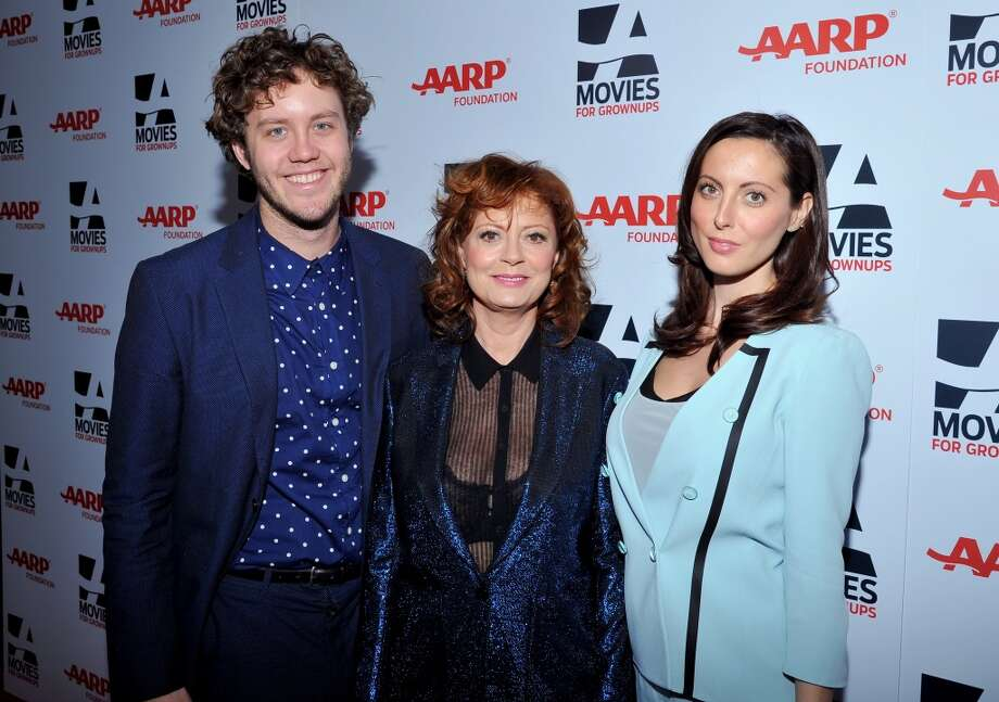 From left, Jack Henry Robbins, actress Susan Sarandon, and Eva Amurri (Amurri and Robbins are Sarandon's kids) arrive at the 2014 AARP's Movies for Grownups Gala, on Monday, Feb. 10th, 2014 in Beverly Hills, Calif. (Photo by Vince Bucci/Invision for AARP Media/AP Images) Photo: Vince Bucci, Associated Press