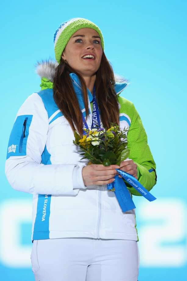 Gold medalist Tina Maze of Slovenia celebrates during the medal ceremony for the Alpine Skiing Women's Downhill on day five of the Sochi 2014 Winter Olympics at Medals Plaza on February 12, 2014 in Sochi, Russia.  (Photo by Paul Gilham/Getty Images) Photo: Paul Gilham, Getty Images