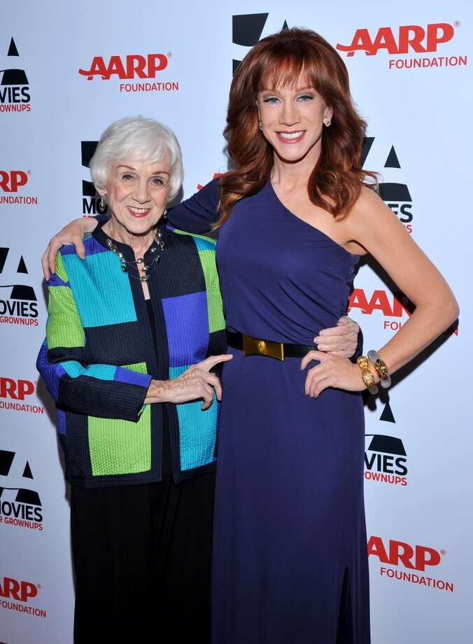 Host Kathy Griffin, right, and mother  Mary Margaret Corbally arrive at the 2014 AARP's Movies for Grownups Gala, on Monday, Feb. 10th, 2014 in Beverly Hills, Calif. (Photo by Vince Bucci/Invision for AARP Media/AP Images) Photo: Vince Bucci, Associated Press