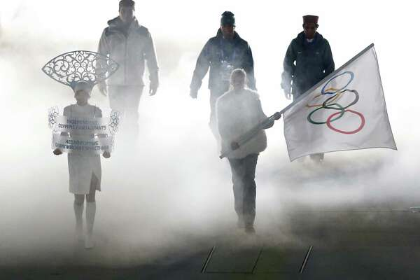 "Olympic participants  attend the Opening Ceremony of the Winter Olympics in Sochi, Russia. To some, the ceremonies delivered a ""whitewashed version"" of Russian history."