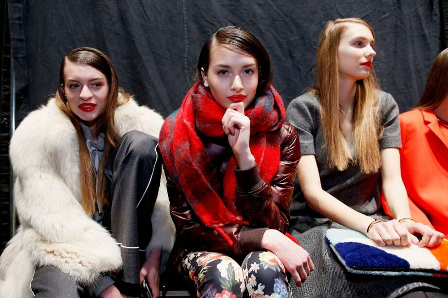 Models pose backstage at the J.Crew presentation during Mercedes-Benz Fashion Week Fall 2014 at The Pavilion at Lincoln Center on February 11, 2014 in New York City.  (Photo by Brian Ach/Getty Images for Mercedes-Benz Fashion Week) Photo: Brian Ach, (Credit Too Long, See Caption)
