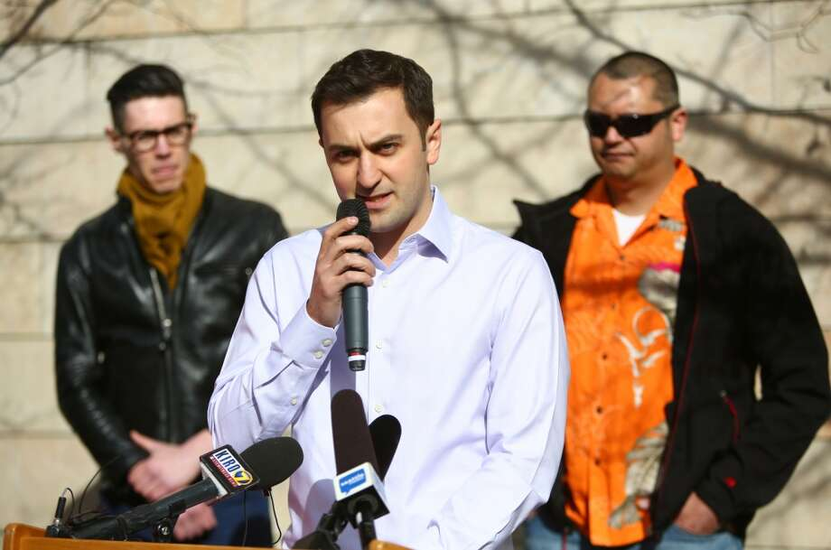 John Zimmer, co-founder of ride-sharing service Lyft, speaks during a rally to support the services in Seattle on Tuesday, February 12, 2014. The Seattle City Council is considering regulations for the companies and drivers that provide the service. (Joshua Trujillo, seattlepi.com) Photo: JOSHUA TRUJILLO, SEATTLEPI.COM