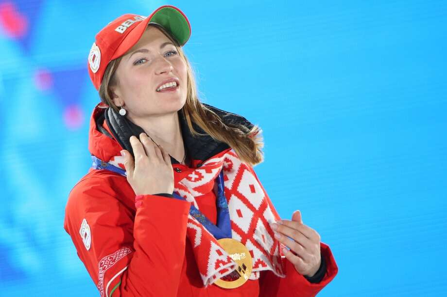 Belarus' gold medalist Darya Domracheva poses on the podium during the Women's Biathlon 10 km Pursuit Medal Ceremony at the Sochi medals plaza during the Sochi Winter Olympics on February 12, 2014.   LOIC VENANCE/AFP/Getty Images Photo: LOIC VENANCE, AFP/Getty Images
