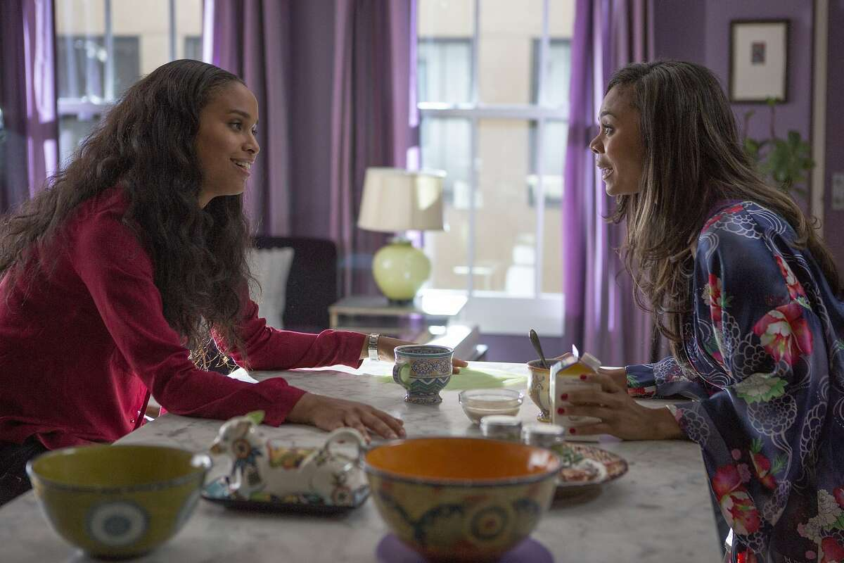 Debbie (Joy Bryant) dishes to Joan (Regina Hall) the morning after her first date with Danny in Screen Gems' ABOUT LAST NIGHT