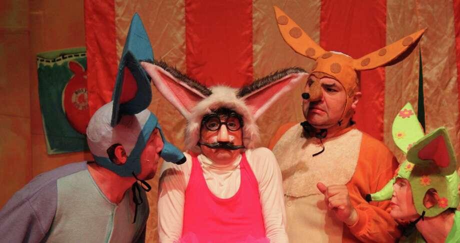 "Sam Weeks (from left), Anthony Bosmans, Richard Solis and Angela Hoeffler star in Magik Theatre's ""Skippyjon Jones."" Photo: Courtesy Magik Theatre"