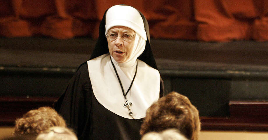 "Nonie Newton-Breen, as Sister, is seen in the interactive ""Late Nite Catechism."" The show is formatted to resemble a catechism class led by a no-nonsense instructor. Photo: Express-News File Photo / SAN ANTONIO EXPRESS-NEWS"