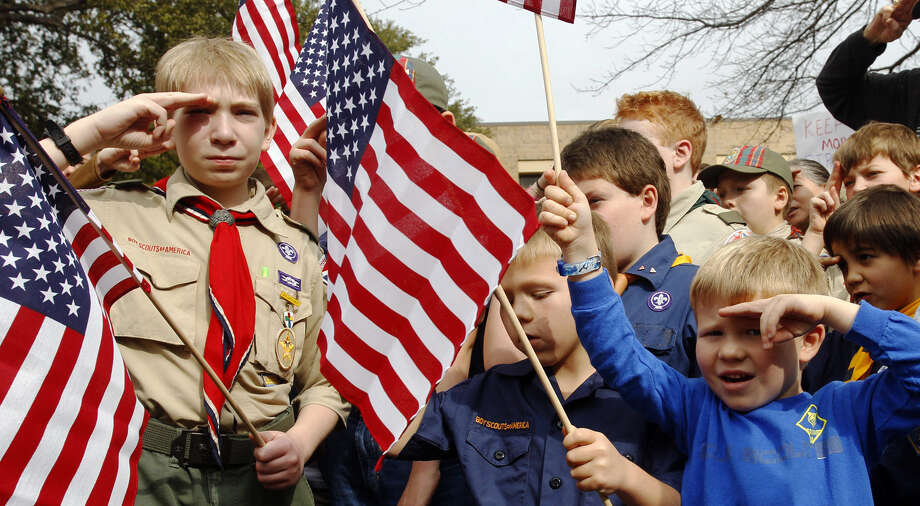 Young scouts gather in a rally in front of the Boy Scouts of America National Headquarters in Dallas. The BSA said it lost 6 percent of its membership in the past year. Photo: Richard Rodriguez / Associated Press / FR170526 AP