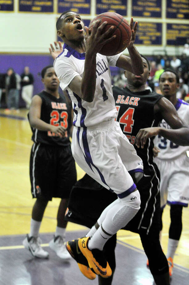 Westhill's Jeremiah Livingston puts up a shot uncontested during the Vikings' basketball game against Stamford at Westhill High School in Stamford, Conn., on Wednesday, Feb. 12, 2014. Photo: Jason Rearick / Stamford Advocate