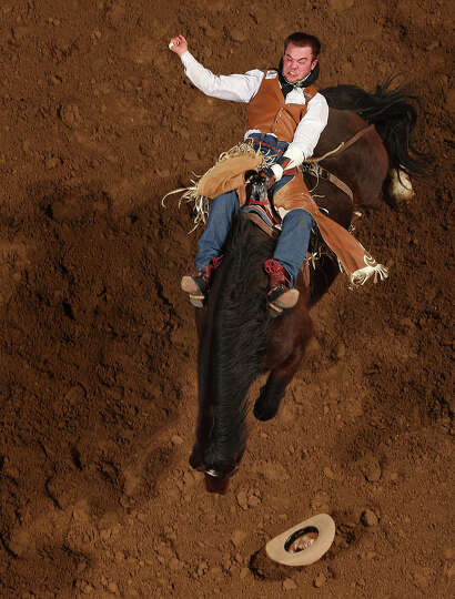 Kenny Haworth, of Terrebonne, Oregon competes in the Bareback Riding competition at the San Antonio