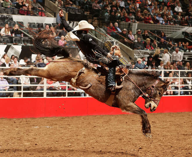 Bradley Harter, of Weatherford, Texas, competes in the Saddle Bronc Riding competition during the Sa