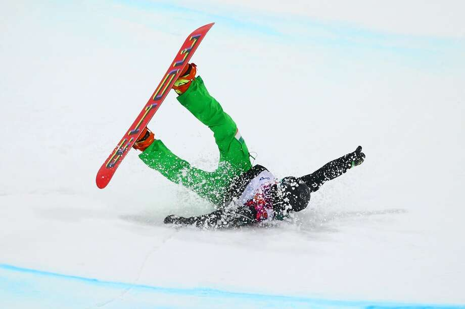 Seamus O'Connor of Ireland crashes out in his Snowboard Men's Halfpipe Semifinal on day four of the Sochi 2014 Winter Olympics at Rosa Khutor Extreme Park on February 11, 2014 in Sochi, Russia.  (Photo by Al Bello/Getty Images) Photo: Al Bello, Getty Images