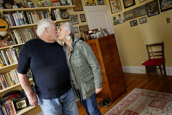 The Ferguson's kiss before an interview about their marriage with UC staff Monday February 10, 2014. UC Berkeley's 25 year marriage study is ending soon. The research followed more than 100 couples late into marriage including Gene and Barbara Ferguson of Oakland, Calif.