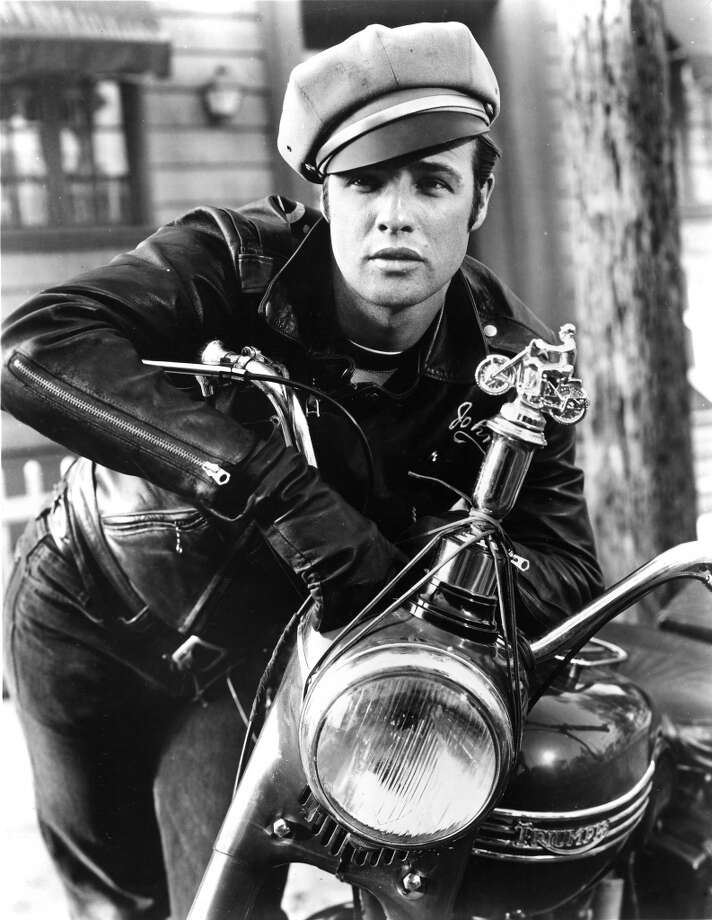 "1953: Actor Marlon Brando rides a Triumph motorcycle in a scene from the movie ""The Wild One"" which came out in 1953. (Photo by Michael Ochs Archives/Getty Images) Photo: Michael Ochs Archives"