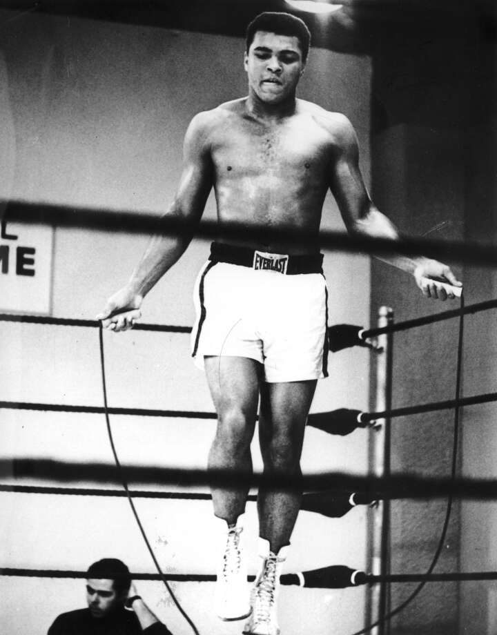 Heavyweight boxer Muhammad Ali in training at the Houston Astrodome in Texas for a bout with Ernie Terrell, 31st January 1967. Ali beat Terrell on 6th February, winning the WBA Heavyweight Title. Photo: Central Press, Getty Images