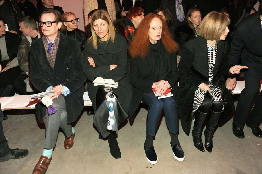 (L-R): Hamish Bowles, fashion editor Virginia Smith, Grace Coddington, and Anna Wintour attend the Proenza Schouler fashion show February 12. Photo: Ben Gabbe, Getty Images
