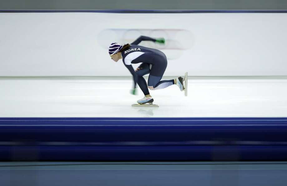 South Korea's Lee Sang-hwa warms-up for the women's 1,000-meter speedskating race at the Adler Arena Skating Center during the 2014 Winter Olympics in Sochi, Russia, Thursday, Feb. 13, 2014.  Photo: Patrick Semansky, Associated Press
