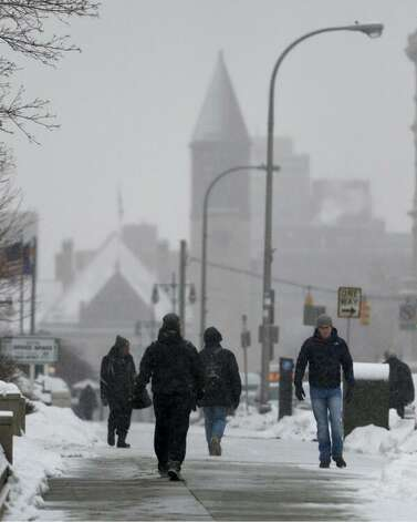 The view at 9:45 a.m. in downtown Albany on Thursday. (Skip Dickstein / Times Union)