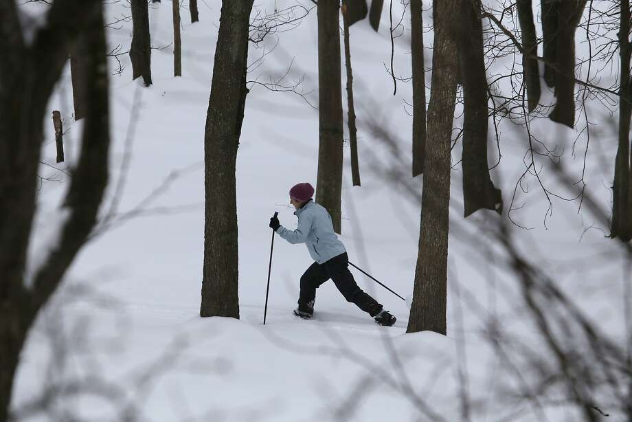 Elisabeth Wilbur of Burke, Va. skis near Lake Braddock in Burke, Va., Thursday, Feb. 13, 2014. After pummeling wide swaths of the South, a winter storm dumped nearly a foot of snow in Washington as it marched Northeast and threatened more power outages, traffic headaches and widespread closures for millions of residents. Photo: Harry Hamburg, Associated Press