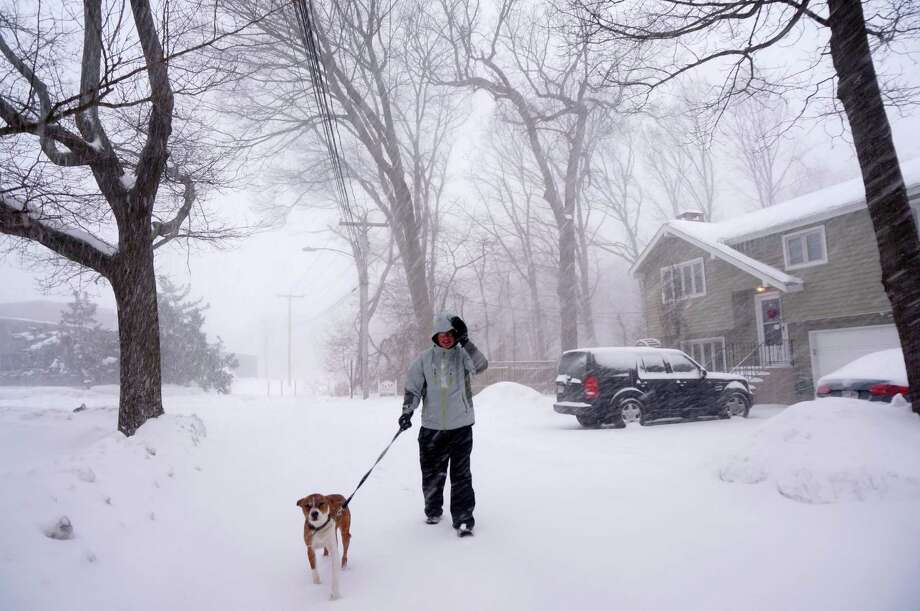 A man and his best friend navigate snowy Veres Street on THursday morning. Photo: Genevieve Reilly / Fairfield Citizen