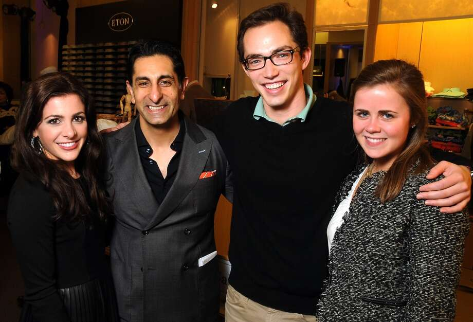 From left: Laura Littlejohn, sock designer Vivek Nagrani, Coleman Lapointe and Catherine Branch.(Dave Rossman photo) Photo: Dave Rossman, For The Houston Chronicle