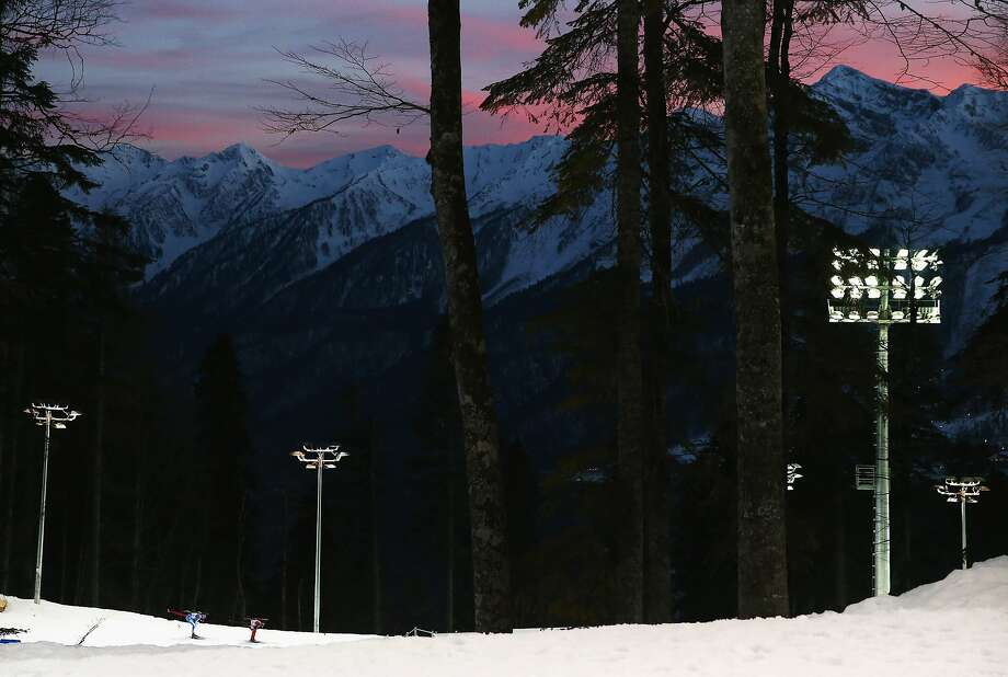 SOCHI, RUSSIA - FEBRUARY 13:  Skiers compete during the Men's 20km Indvidual Biathlon during day six of the Sochi 2014 Winter Olympics at Laura Cross-country Ski & Biathlon Center on February 13, 2014 in Sochi, Russia.  (Photo by Ryan Pierse/Getty Images) Photo: Ryan Pierse, Getty Images