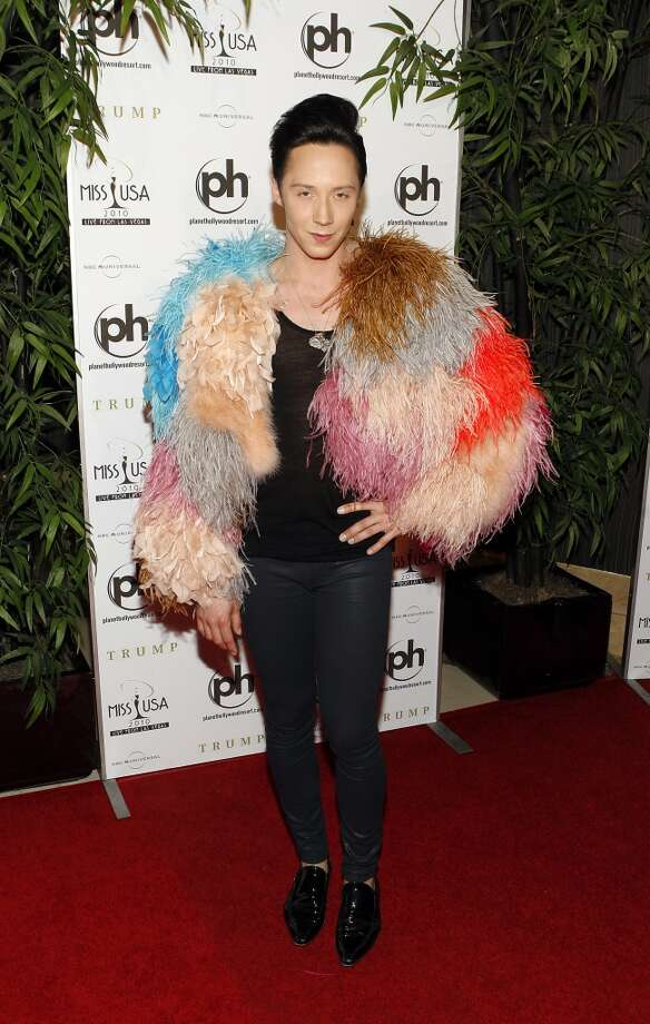 In this May 16, 2010, photo, Johnny Weir arrives at the Miss USA 2010 pageant, in Las Vegas. (AP Photo/Isaac Brekken) Photo: Isaac Brekken, Associated Press