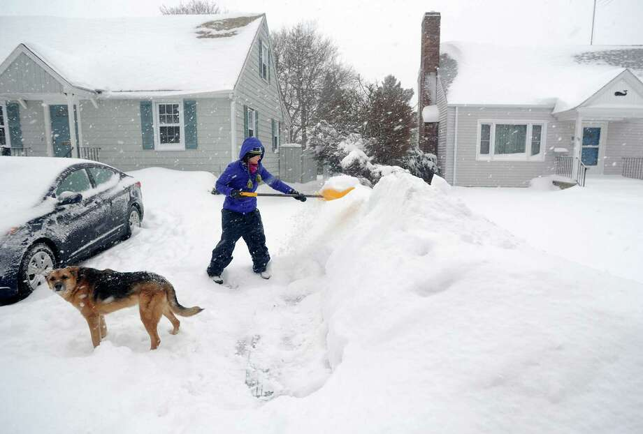 Under the watchful eye of the family dog, farley, Joanna Jennens trys to keep up with the storm as she shovels her driveway on Gould Ave. in Fairfield, Conn. on Thursday, Feb. 13, 2014. Jennens just moved to town from Michigan in July, so she  is used to winter weather. Photo: Cathy Zuraw / Connecticut Post