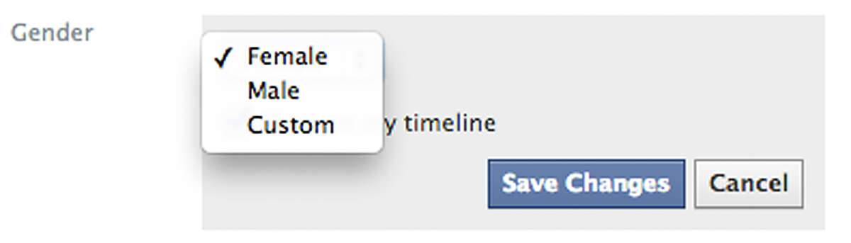 This screen shot released by Facebook shows the new gender option screen. Facebook is adding a customizable option with about 50 different terms people can use to identify their gender as well as three preferred pronoun choices: him, her or them. Facebook said the changes being rolled out Thursday, Feb. 13, 2014, for the company's 159 million monthly users in the U.S. are aimed at giving gender nonconforming people the opportunity to be transparent about who they really are, whether that's androgynous, bi-gender, intersex, gender fluid or transsexual.