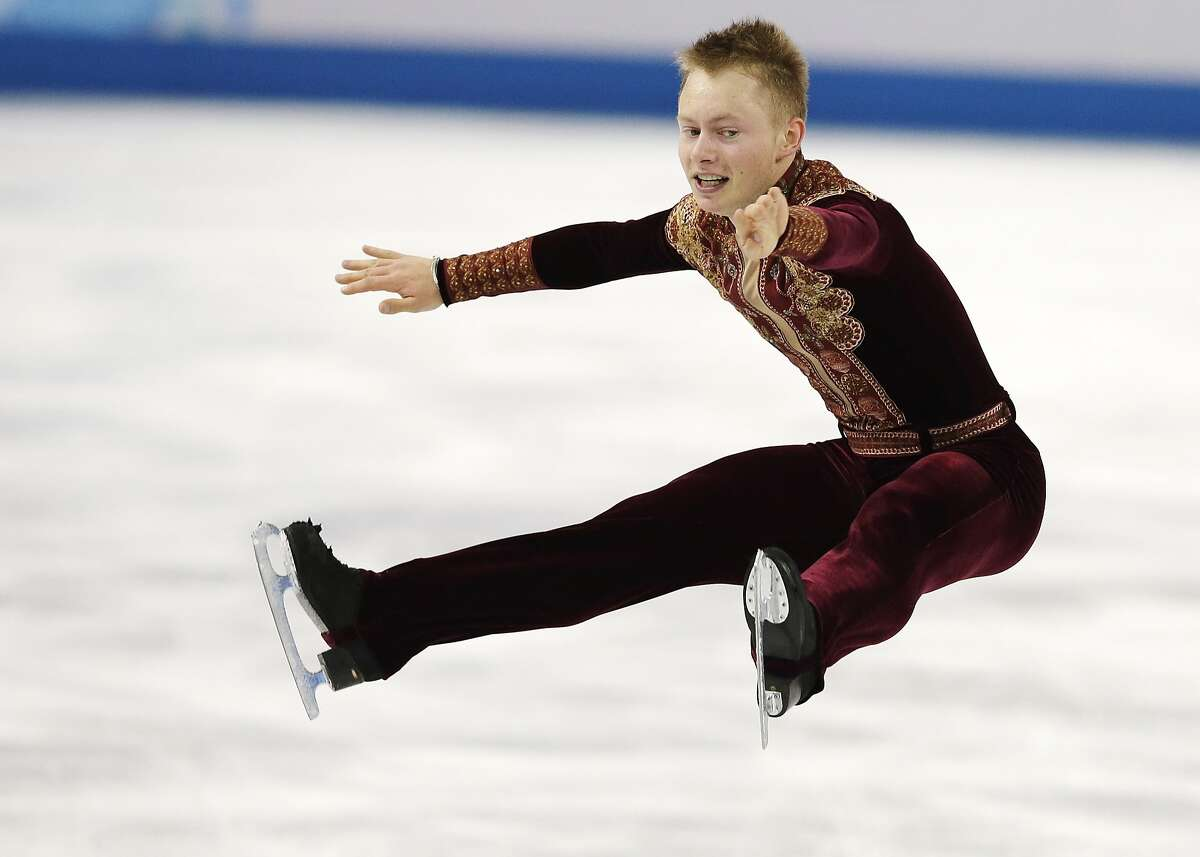 Alexander Majorov of Sweden competes in the men's short program figure skating competition at the Iceberg Skating Palace during the 2014 Winter Olympics, Thursday, Feb. 13, 2014, in Sochi, Russia. (AP Photo/Darron Cummings)