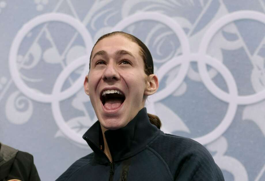 Jason Brown of the United States reacts in the results area after the men's short program figure skating competition at the Iceberg Skating Palace during the 2014 Winter Olympics, Thursday, Feb. 13, 2014, in Sochi, Russia. (AP Photo/Ivan Sekretarev) Photo: Ivan Sekretarev, Associated Press