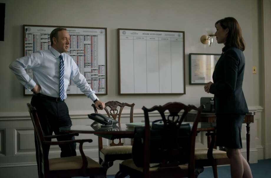 "Kevin Spacey and Molly Parker in season 2 of Netflix's ""House of Cards."" Photo credit: Nathaniel Bell for Netflix."