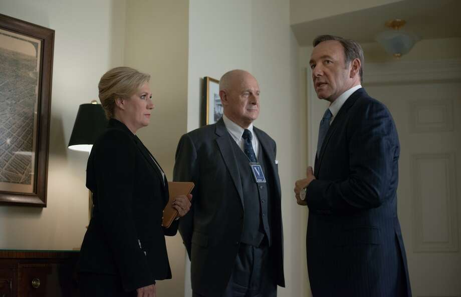 "Jayne Atkinson (L), Gerald McRaney (C) and Kevin Spacey (R) in season 2 of Netflix's ""House of Cards."" Photo credit: Nathaniel Bell for Netflix."