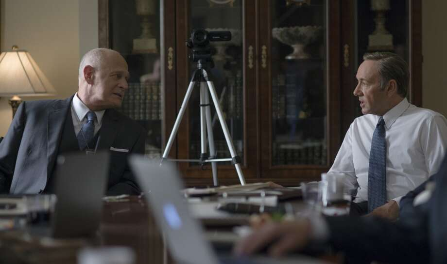 "Gerald McRaney (L) and Kevin Spacey (R) in season 2 of Netflix's ""House of Cards."" Photo credit: Nathaniel Bell for Netflix."