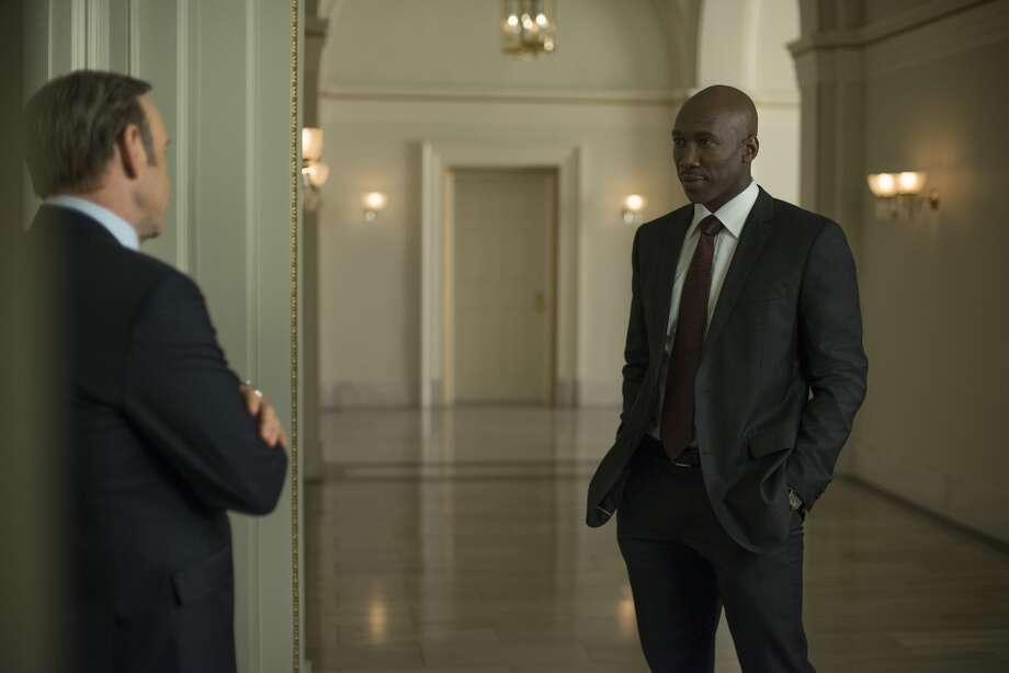 "Kevin Spacey (L) and Mahershala Ali (R) in season 2 of Netflix's ""House of Cards."" Photo credit: Nathaniel Bell for Netflix."