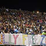 "A sign proclaims the stadium to be a ""Bully Free Zone"" during the second half of a high school football game between Manvel and Pearland at The Rig on Friday, Nov. 2, 2012, in Pearland. ( Smiley N. Pool / Houston Chronicle )"