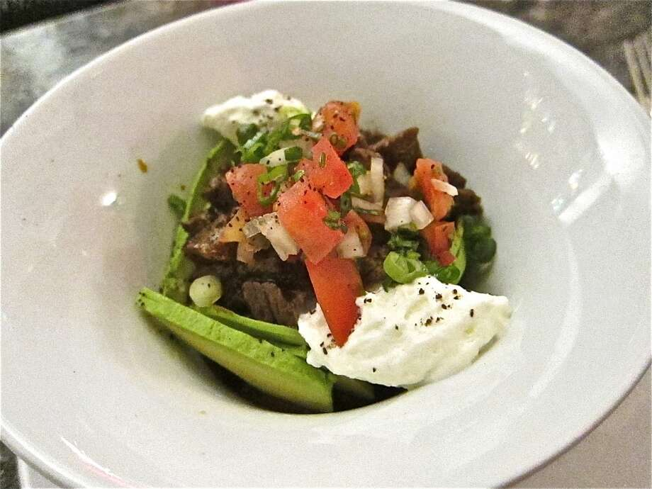 Akaushi beef Tejas Chili with avocado, pico de gallo and crema at 60 Degrees Mastercrafted. Photo: Alison Cook