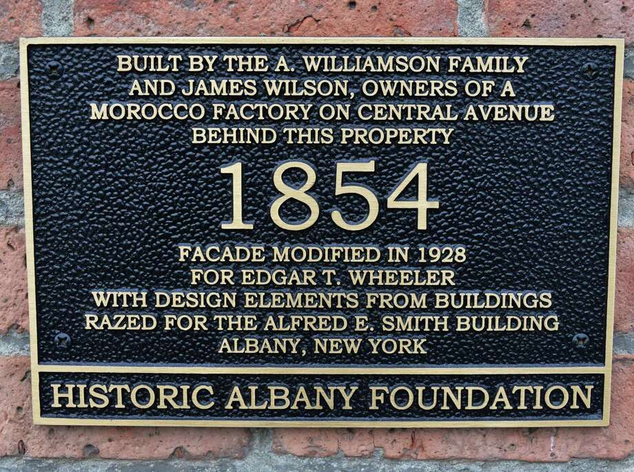 Historic marker on Bill Allen's 19C home on Washington Avenue Saturday Feb. 8, 2014, in Albany, NY.  (John Carl D'Annibale / Times Union) Photo: John Carl D'Annibale / 00025679A