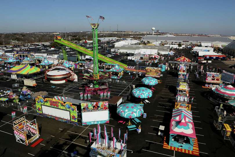 View of the carnival from the Big Wheel before the carnival opens at 4 pm. The San Antonio Stock Sho